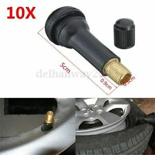 10Pcs TR414 Tubeless Car Bike Wheel Tire Tyre Rubber Valves With Dust Caps New