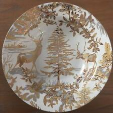 NEW Pottery Barn ALPINE TOILE GOLD SERVE BOWL French Christmas Stag Woods Cabin