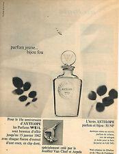 PUBLICITE ADVERTISING 034   1961   WEIL    parfum & bijou ANTILOPE