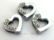 10pc 8mm half crystal Heart Slide Charm Fit Pet Dog Cat Collar band wrsitband