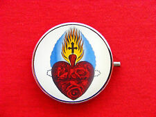 SACRED HEART TATTOO ROUND METAL PILL MINT BOX CASE