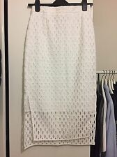 Whistles White Side Split Broderie Skirt Uk6