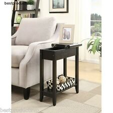 Black Flip Top End Table Wood Accent Side Storage Rectangle Hinged Small Shelf