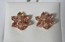 New 14K Rose Gold Over Sterling Silver Pink Crystal FLOWER EARRINGS Posts NIB!