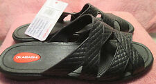New w/ Tag Okabashi Womens ML (8.5-9.5) Black Cross Strap Sandals Arch Support