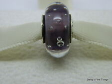 NEW! AUTHENTIC PANDORA CHARM .925 PURPLE EFFERVESENCE GLASS MURANO #791616CZ  P