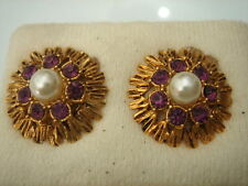 BOUCLES D'OREILLES STRASS LILAS ET PERLE VINTAGE 50 NEUF/OLD NEW PEARL EARRINGS