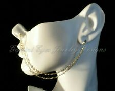 Handmade Gold Plated Double Ear To Nose Chain with Non-pierced Nose Hoop