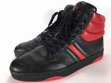 Gucci Ronnie Black leather High Top Sneaker Shoe Size 8.5 G
