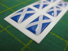 6 SMALL DOMED SCOTISH SALTIRE FLAG STICKERS 15mm x 7.5mm