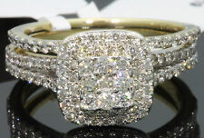 10K YELLOW GOLD 1.45 CT WOMEN REAL DIAMOND ENGAGEMENT RING WEDDING BAND RING SET