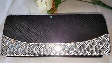 Black with Silver Diamante Sparkly evening bag wedding prom party 22cm