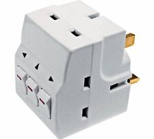 New Plug-In Surge Protected 3-Way Switched Socket Adaptor 13A UK Mains Free P&P