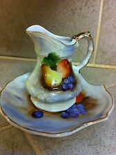 Vintage small pitcher & bowl shell shaped plate fruit design apple pear grape