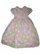 Girl Lilly Pulitzer Gossip Pink Green Smocked Dress Spring Summer Easter Size 5