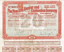 Africa South Africa New Ario Copper Company stock certificate 1900 With Coupons