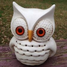 Vintage Ceramic Owl Pottery Figure Luminary VTG Off White Retro Mid Century