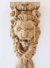 "10.8"" Hand Carved Wood Corbel Bracket Support Lion Oak Quality Console"