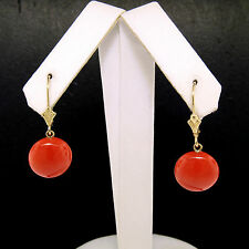Estate 14K Yellow Gold Round Bead Buttons Coral Dangle Drop Lever Back Earrings
