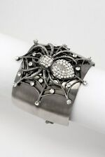 Black Spider Bracelet Antique Silver Charm Spider Web Bangle Bracelet