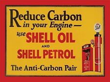 Shell Oil & Petrol, Reduce Carbon, Vintage Garage Engine, Small Metal/Tin Sign