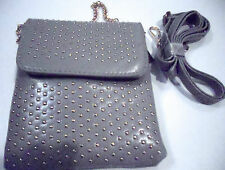 HANDBAG MESSENGER CROSS BODY STUDDED PURSE CELL PHONE POCKET SILVER GRAY