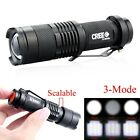 New Mini 1200LM CREE Q5 Zoomable LED Flashlight Hiking Torch Lamp Black 3 Modes