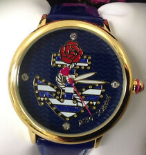 BETSEY JOHNSON WATCH -NAVY BLUE ANCHORS Rhinestones ROSES Women's NEW NAUTICAL
