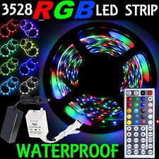 5M SMD RGB 3528 Waterproof LED Strip light 300 & 44 Key Remote &12V Supply Power