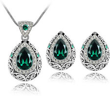 Luxury Vintage Emerald Green Teardrop Jewellery Set Stud Earrings Necklace S587