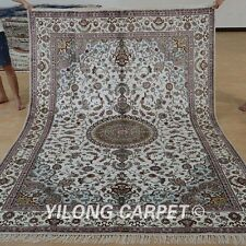 Yilong 6'x9' Handknotted Silk Persian Rugs Kashmir Home Decor Carpets 1230