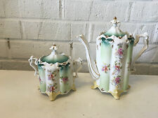 Antique Unmarked Likely RS Prussia Porcelain Teapot & Sugar Dish w/ Floral Dec.