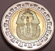Gem Unc Bi-Metal Egypt 2008 1 Pound~King Tutankhamun~Read The History~Free Ship