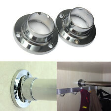 2Pcs 25mm Wardrobe Rail Rod Socket End Support Bracket Rings Fitting Ring Chrome