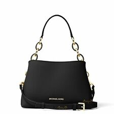 MICHAEL KORS PORTIA SMALL BLACK SAFFIANO LEATHER SHOULDER HAND BAG NEW
