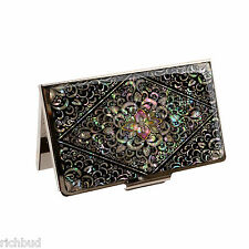 Business Card Holder Box Stainless Steel Case Mother of Pearl Artwork Arabesque