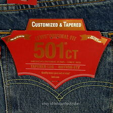 Levis 501 CT Jeans Mens Button Fly Size 32 x 32 BLUE DISTRESSED Tapered Leg NWT