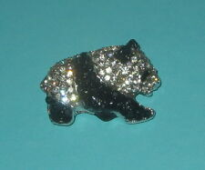 Panda Bear Pin Crystal Accents Silver Tone New Sparkly Jewelry Wild Animals