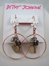 Betsey Johnson wanderlust hoop~key~flower~heart dangle earrings, NWT