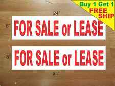 """FOR SALE or LEASE 6""""x24"""" REAL ESTATE RIDER SIGNS Buy 1 Get 1 FREE 2 Side Plastic"""