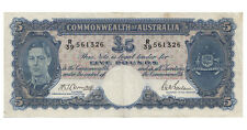 Australia 1941 Five Pounds Armitage McFarlane Note CRISP VF