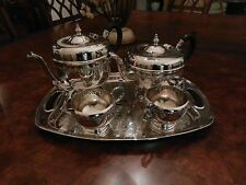 5 Pc Viking Silver Plate Tea Coffee Pot Creamer Sugar Tray EP Copper Service Set