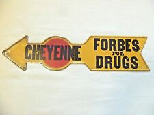 Vintage Drug Store Sign Pharmacy Forbes Pointing Arrow to Wyoming Old Western