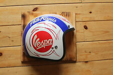 Vespa Scooter Mod Half Helmet Vintage Style Wall Sign Plaque Cafe Racer Hog