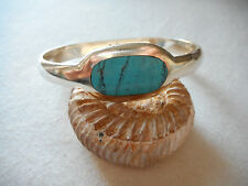 Vtg Sterling Silver Mexico Taxco Turquoise Side Open Bangle Bracelet 211901