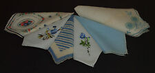 Vintage Handkerchief HANKY LOT of 6 ALL BLUE Florals Embroidery ETC