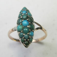 Antique Georgian 9ct Gold Pave Set Persian Turquoise Marquise Ring