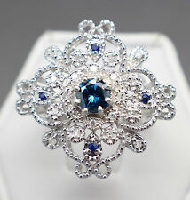.70tcw Natural Blue Diamond & Blue Sapphire Cocktail Ring Certified $1815 Value