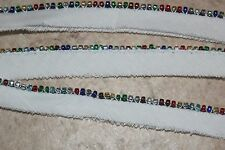 "White Green Blue Bugle beads beaded piping Cotton Lip 1/2"" wide sewing trim"