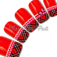 Nail Art Water Decals Transfers Stickers Tartan, Lace & Butterfly for Tips Y146